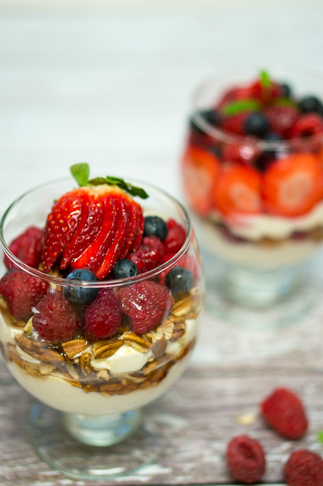 Yogurt with Berries and Pecans