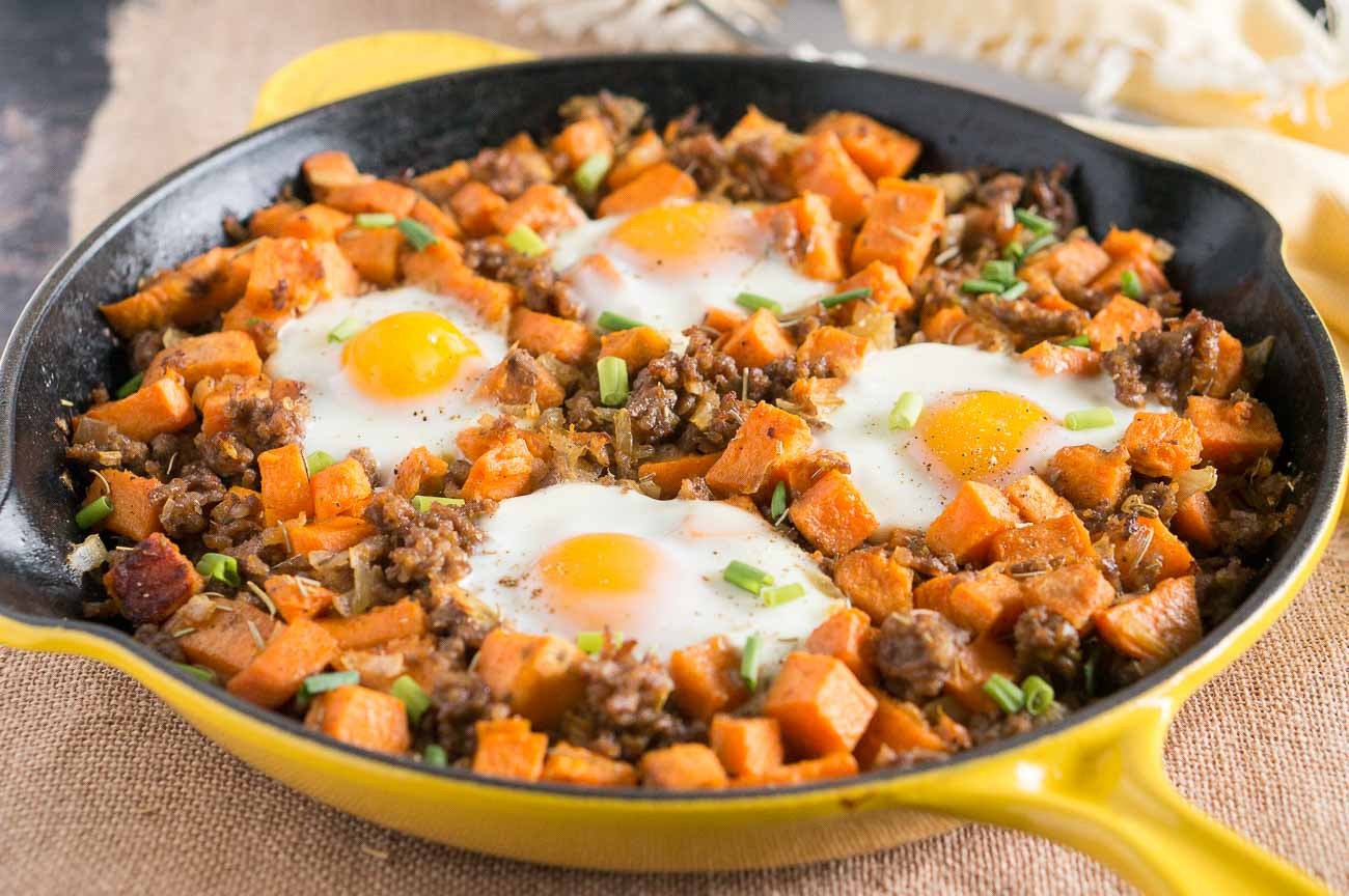 Sweet Potato Hash with Sausage and Eggs | Delicious Meets ...
