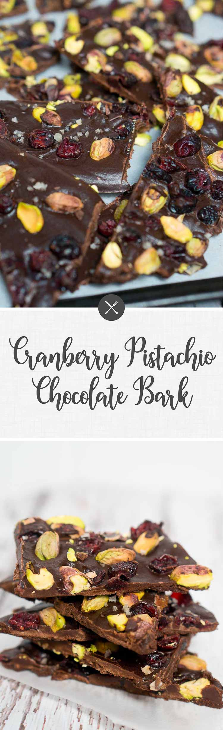 This cranberry pistachio chocolate bark is my kind of dessert because it's made with healthy ingredients and it's easy to throw together. #NewYears #holiday #ediblegift #chocolate #dessert #paleo #glutenfree #lowcarb #whole30