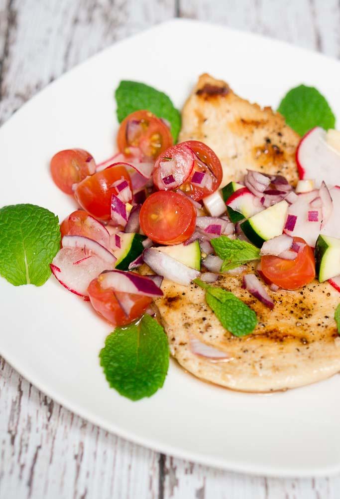 grilled chicken zucchini, radish and cherry tomato relish