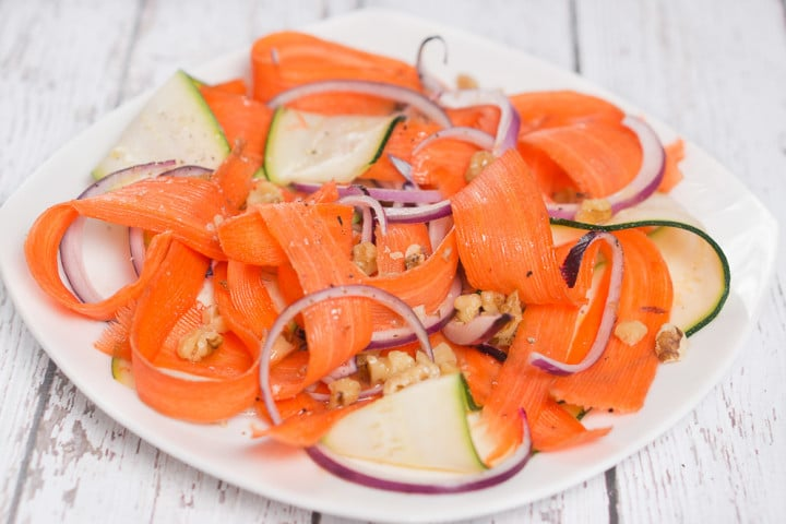 shaved carrots and zucchini salad