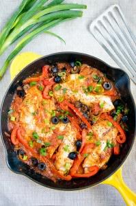 One Skillet Tilapia Veracruz | www.deliciousmeetshealthy.com