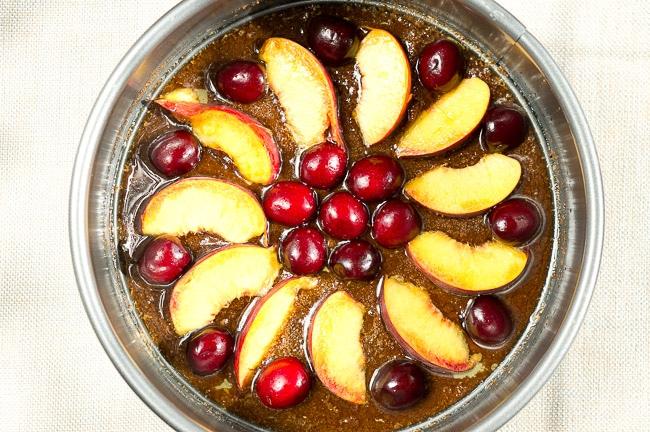 Peach Cherry Upside Down Cake | www.deliciousmeetshealthy.com