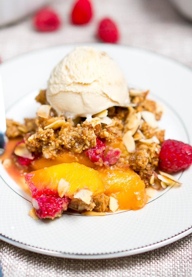Raspberry Peach Crumble Recipe — Dishmaps