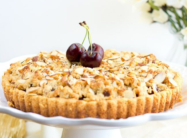 Almond Cherry Crumble Tart