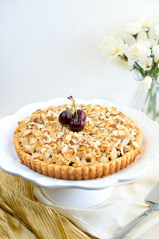 Almond Cherry Crumble Tart | Delicious Meets Healthy