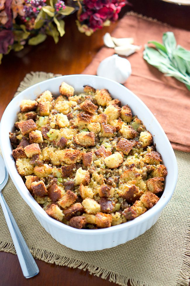 Cornbread and Sausage Stuffing (gluten free, grain free) is hands down the best stuffing I have had. Sausage, cornbread, onion, celery and fresh herbs are combined to create a great tasting stuffing you won't believe is light and healthy.