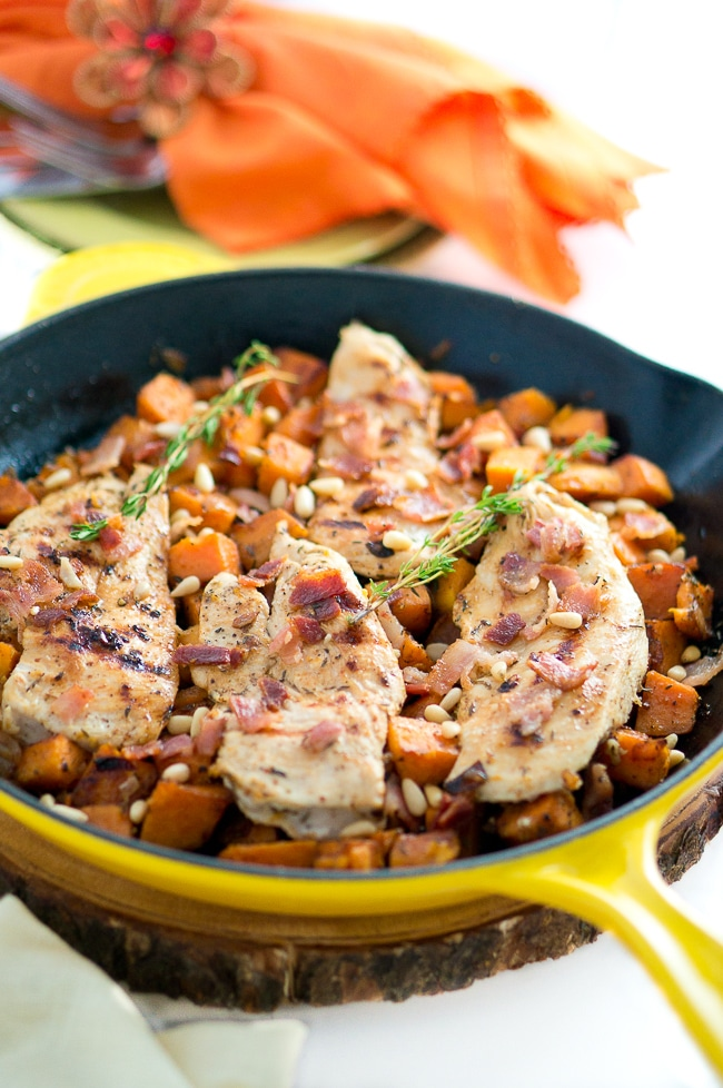 Maple Mustard Chicken and Sweet Potato Skillet - bursting with flavor, this dish is perfect weekday comfort food. One pan, 30 minutes!