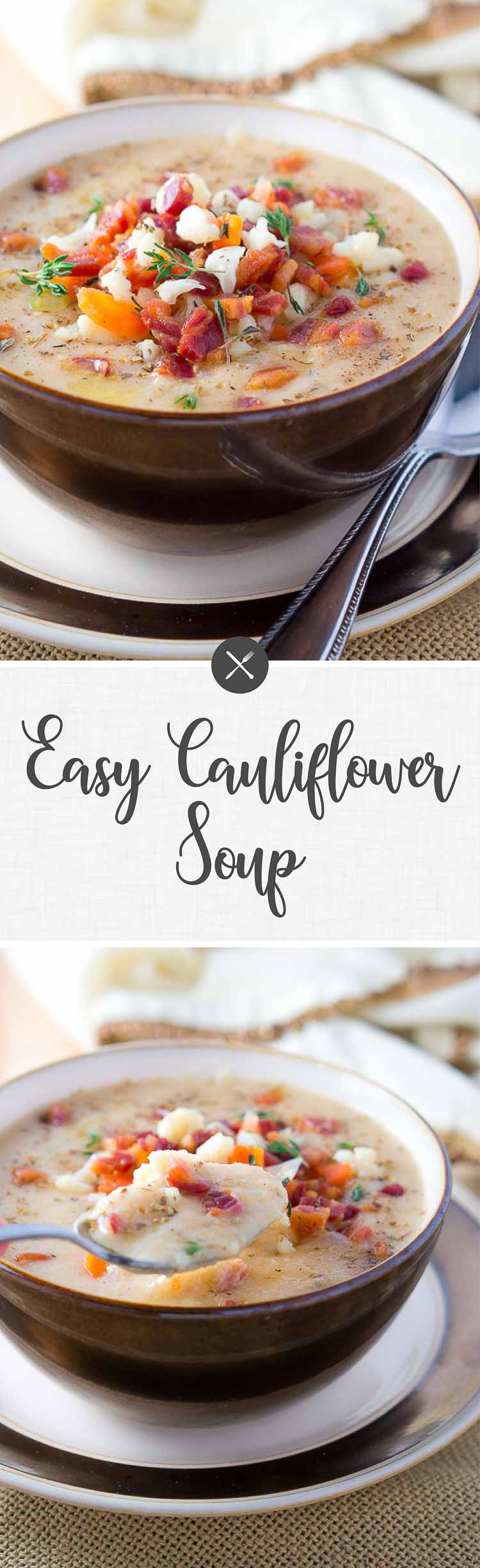 A quick, light and easy cauliflower soup that is dairy-free, gluten-free and absolutely delicious. Thick and creamy, lick-the-bowl good! #soup #comfortfood #glutenfree #healthy #lowcarb #lowfat