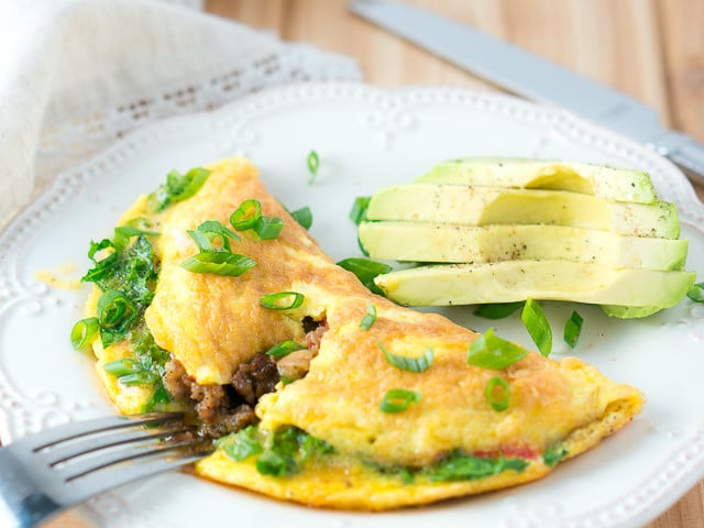 Kale and Sausage Omelet