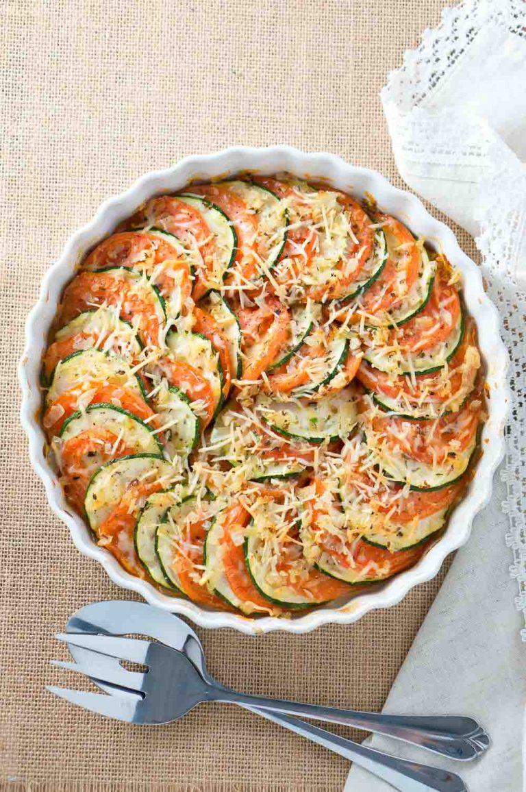 Parmesan Zucchini and Tomato Gratin