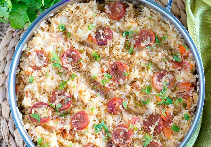 One Pot Sauerkraut and Sausage with Rice