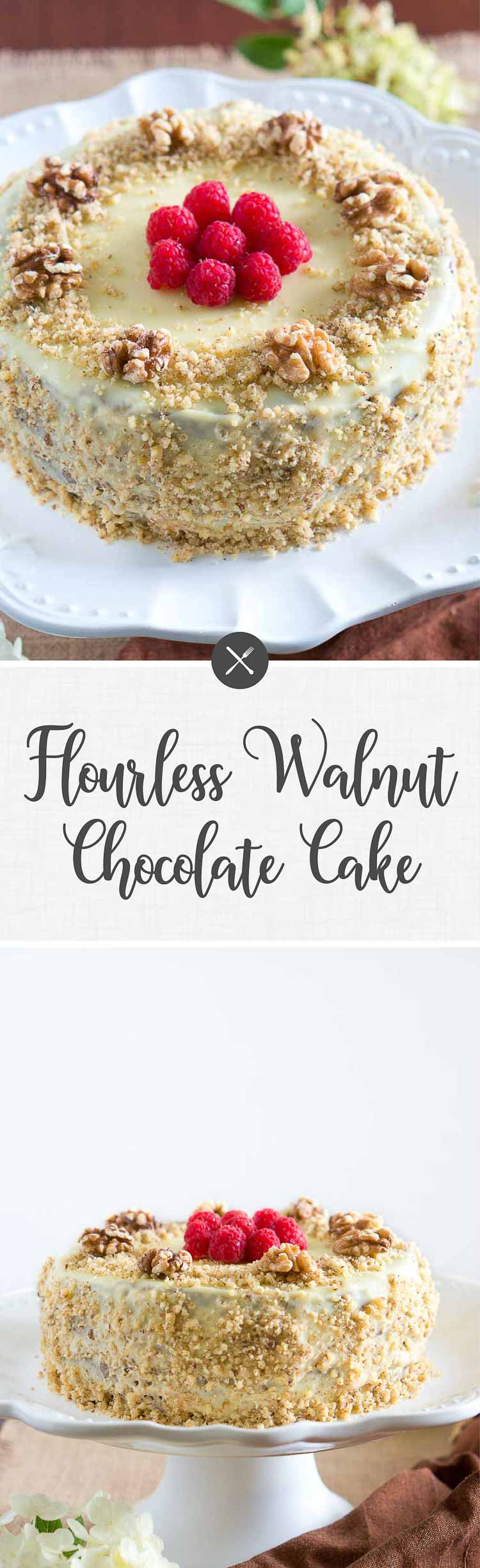 Decadent & light flourless walnut chocolate cake - so delicious! The white chocolate glaze pairs wonderfully with the walnut cream between the layers. #cake #glutenfree #paleo #dessert #healthy