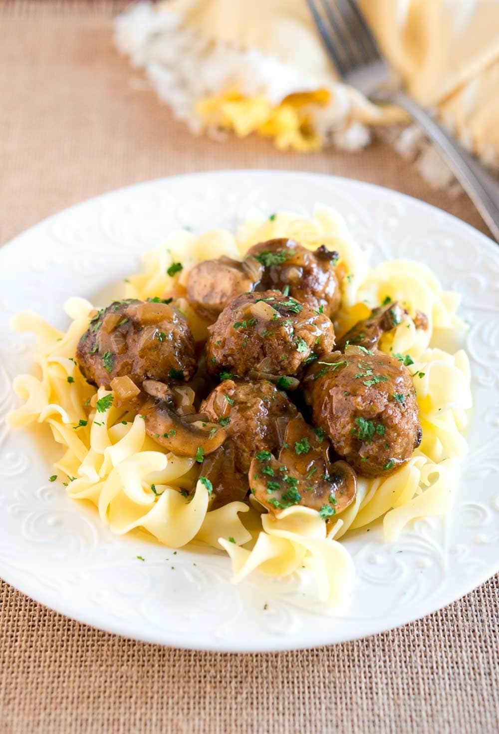 Salisbury Steak Meatballs with Mushroom GravyDelicious Meets