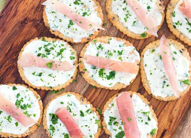 Ricotta and Prosciutto Cracker Appetizers