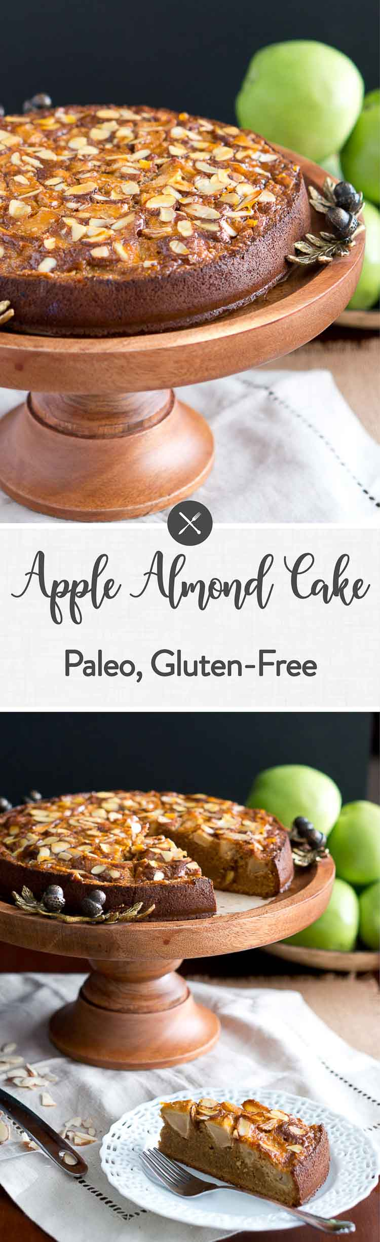 This apple almond cake is made with just a few simple ingredients and has a very delicate apple and almond flavor. It is paleo and gluten-free too! #applecake #almondcake #glutenfree #grainfree #paleo #healthy #dessert