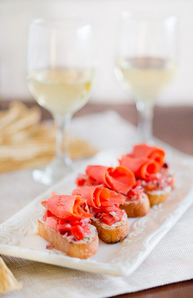 Smoked Salmon Crostini and Wine Pairing | Delicious Meets Healthy