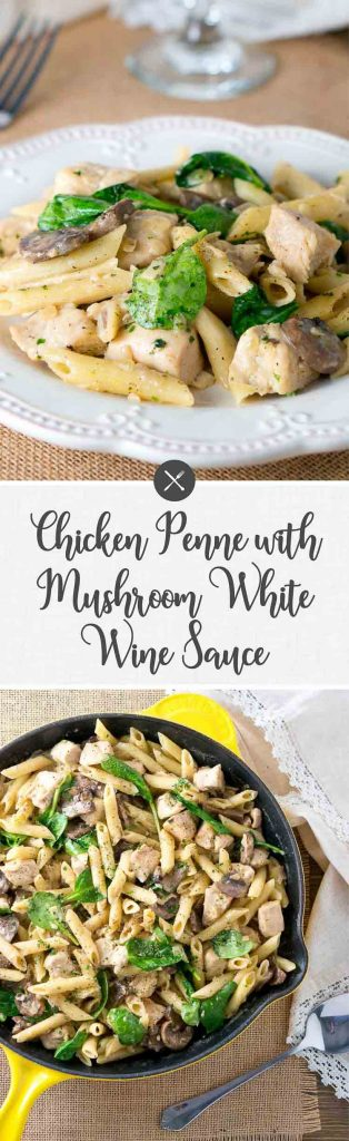 Chicken Penne w Creamu Mushrom White Wine Sauce