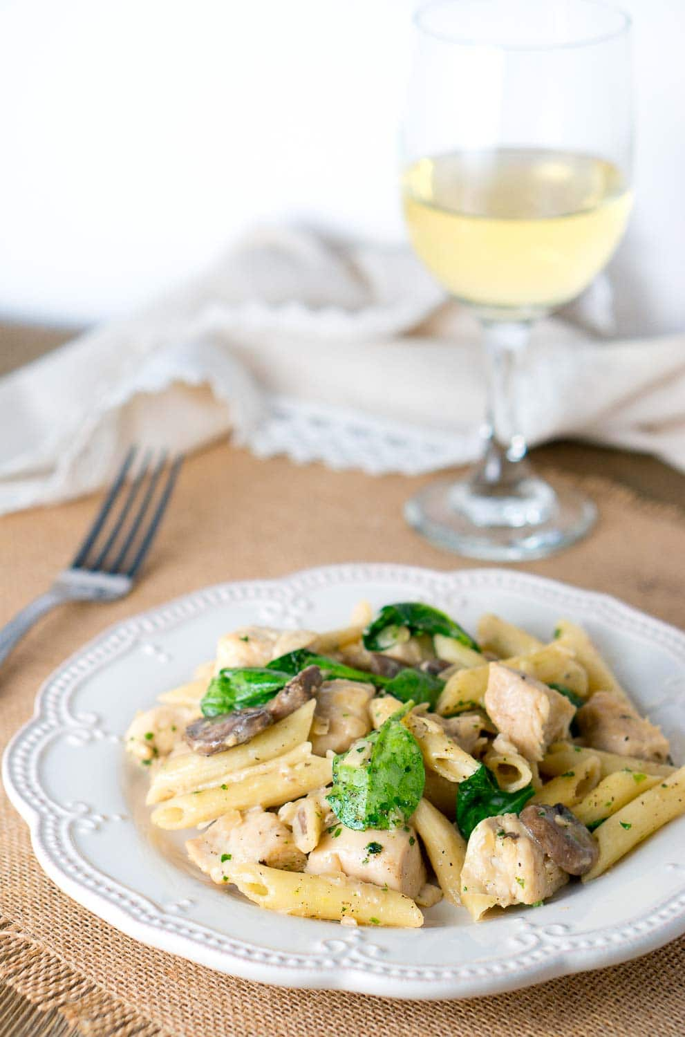 Chicken Penne with Creamy Mushroom White Wine Sauce