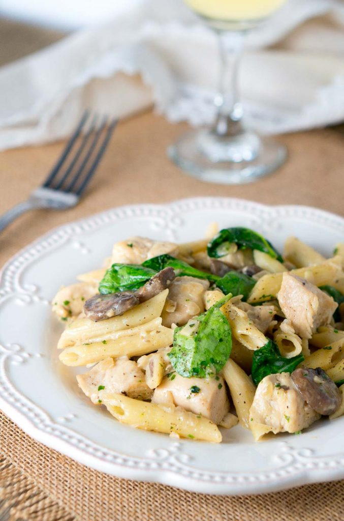 Chicken Penne with Creamy Mushroom White Wine Sauce | Delicious Meets ...