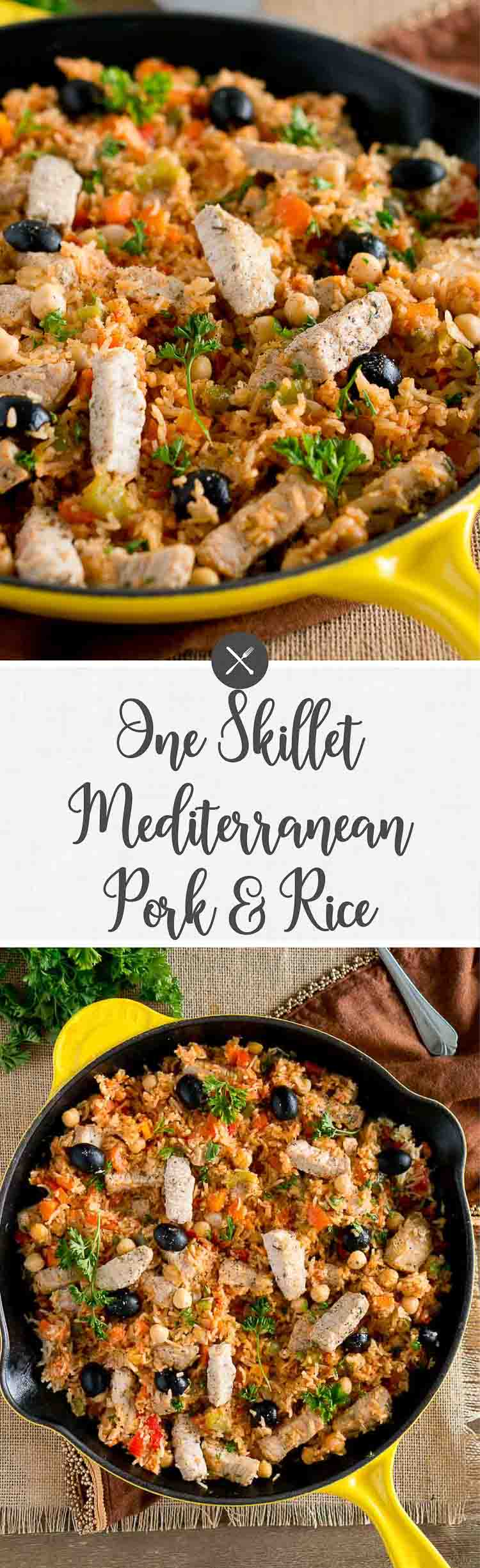This One Skillet Mediterranean Pork and Rice is a delicious meal the whole family will love. It's easy and quick - only 30 minutes and one pan meal. #30minutes #onepot #oneskillet #easyrecipe #quickdinner #healthy #deliciousfood #easydinner