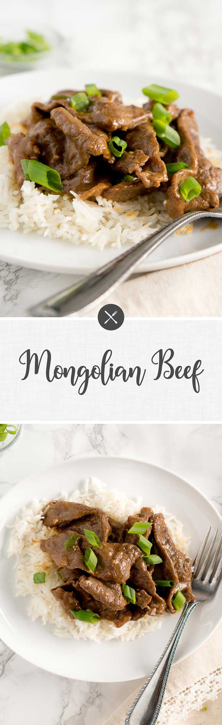 Authentic Mongolian Beef recipe made healthy. It's very easy to prepare and takes only about 5 minutes to cook and 20 minutes to marinate the steak. #30minutes #onepanmeals #onepot #easyrecipes #easydinner #healthydinner