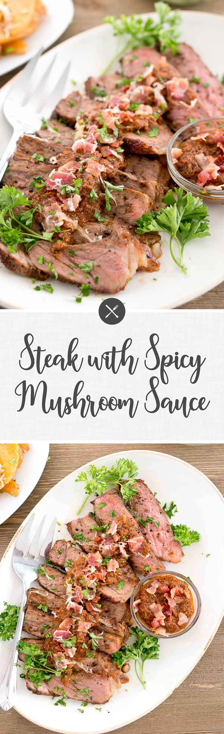 Steak with Spicy Mushroom Sauce is a great and easy recipe for midweek dinners. The mushroom sauce takes the steak to the next level.