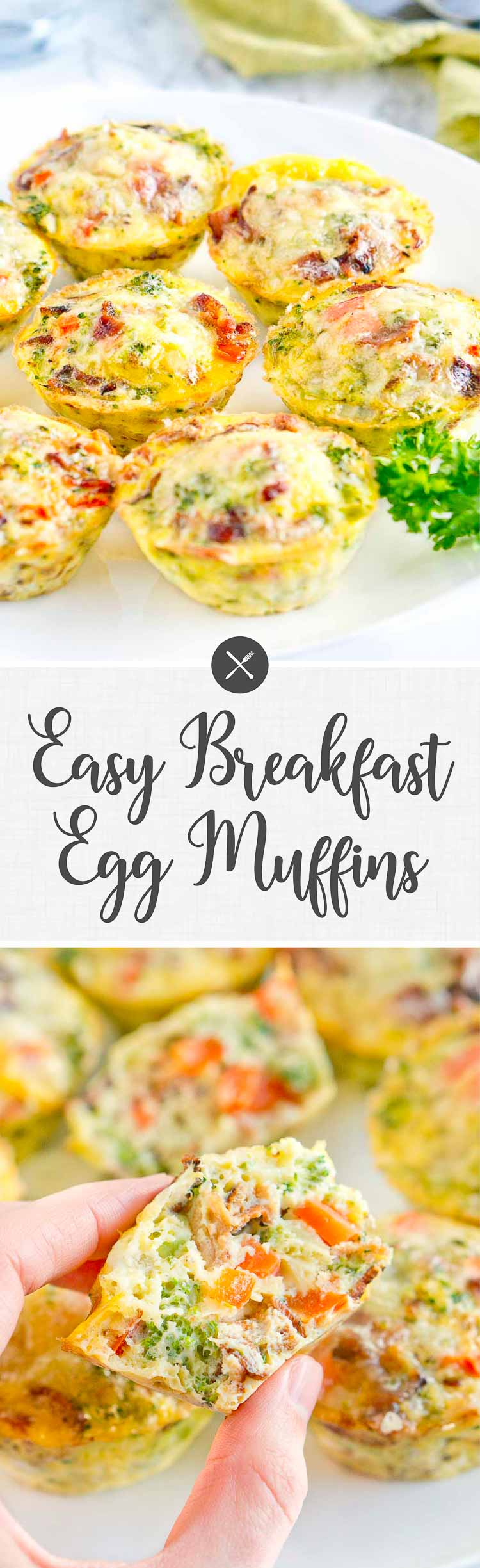 Easy Breakfast Egg Muffins - Perfect grab and go breakfast! So delicious! Bake scrambled eggs & veggies at 375 for 20 min.