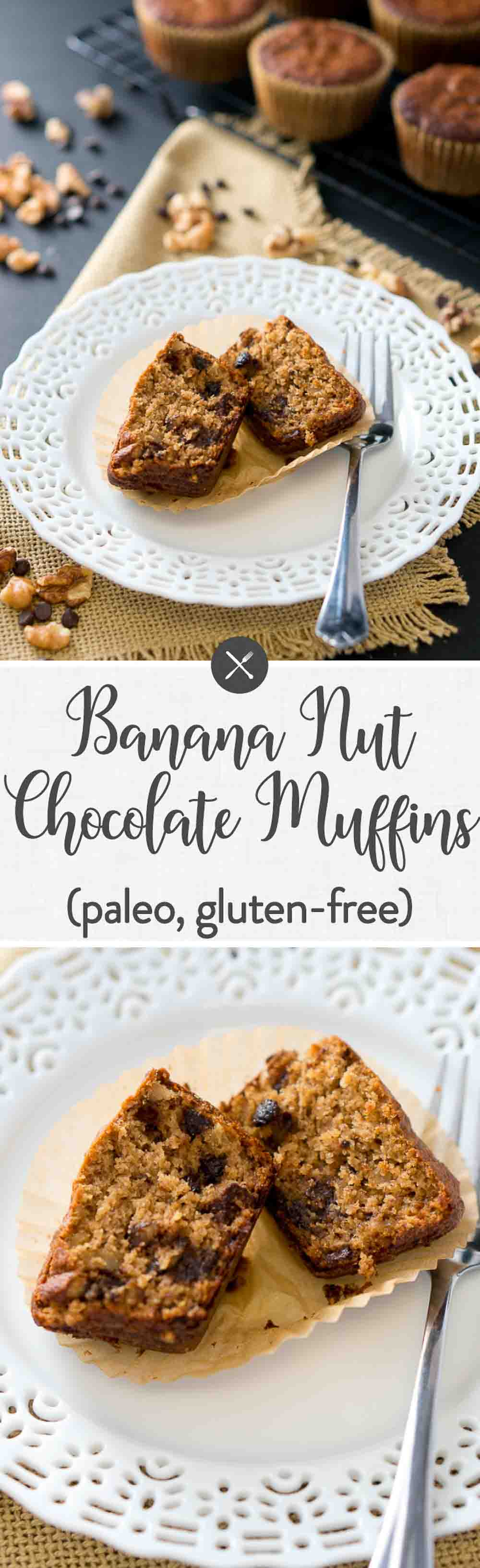 Rich, soft, and moist Paleo Banana Nut Chocolate Muffins - they are gluten free, grain free, dairy free, and Paleo. So delicious! #muffins #snack #glutenfree #dairyfree #dessert #healthy #chocolate #paleo