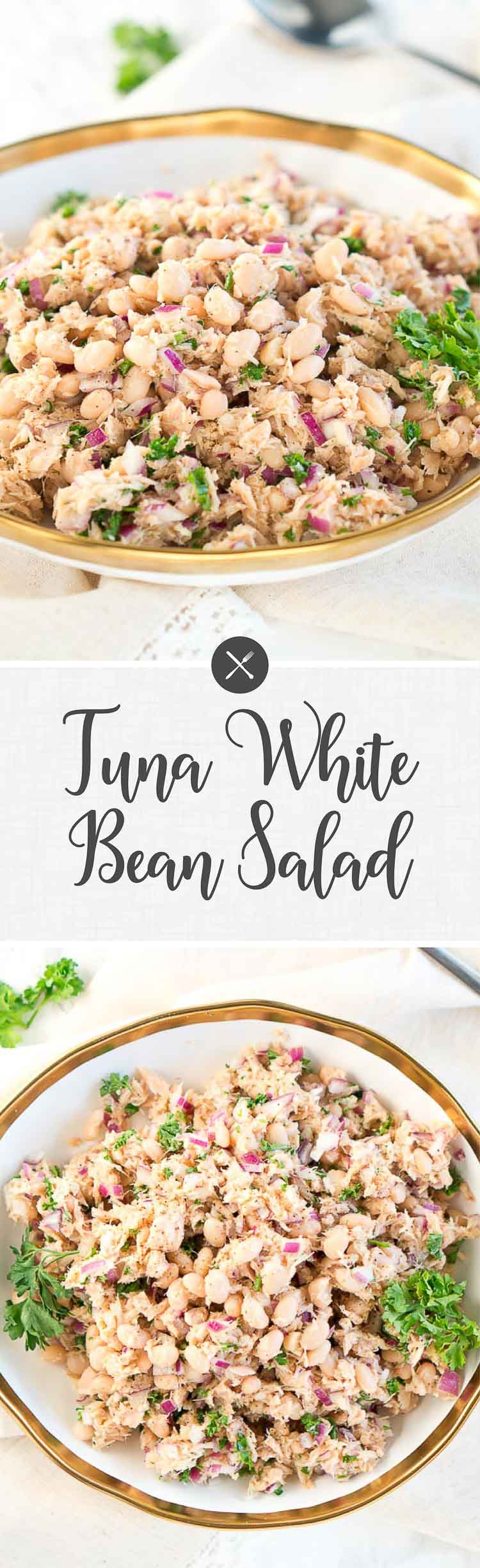 Here is a tasty way to transform an ordinary canned tuna into a delicious meal. This Tuna White Bean Salad is great for potlucks, perfect for a light lunch, and even an appetizer.It tastes wonderful with some gluten-free scoops. #tuna #salad #potluck #holiday #4thofjuly #MemorialDay #LaborDay #healthy