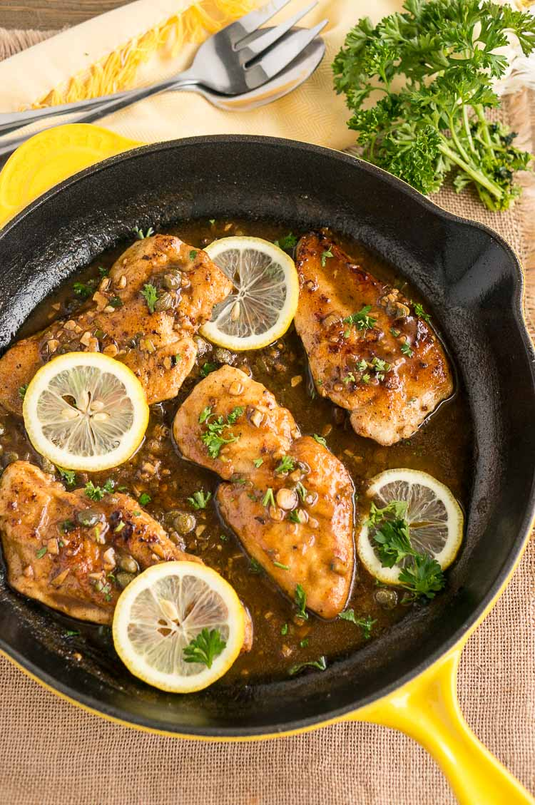 Chicken Piccata in a cast iron skillet
