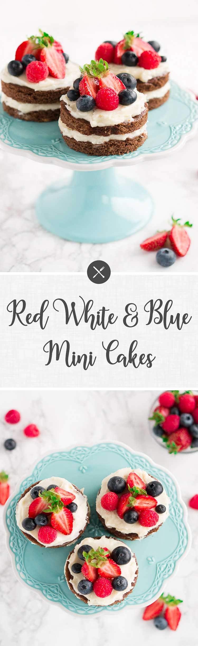 Red White and Blue Mini Cakes (Gluten-Free, Paleo)