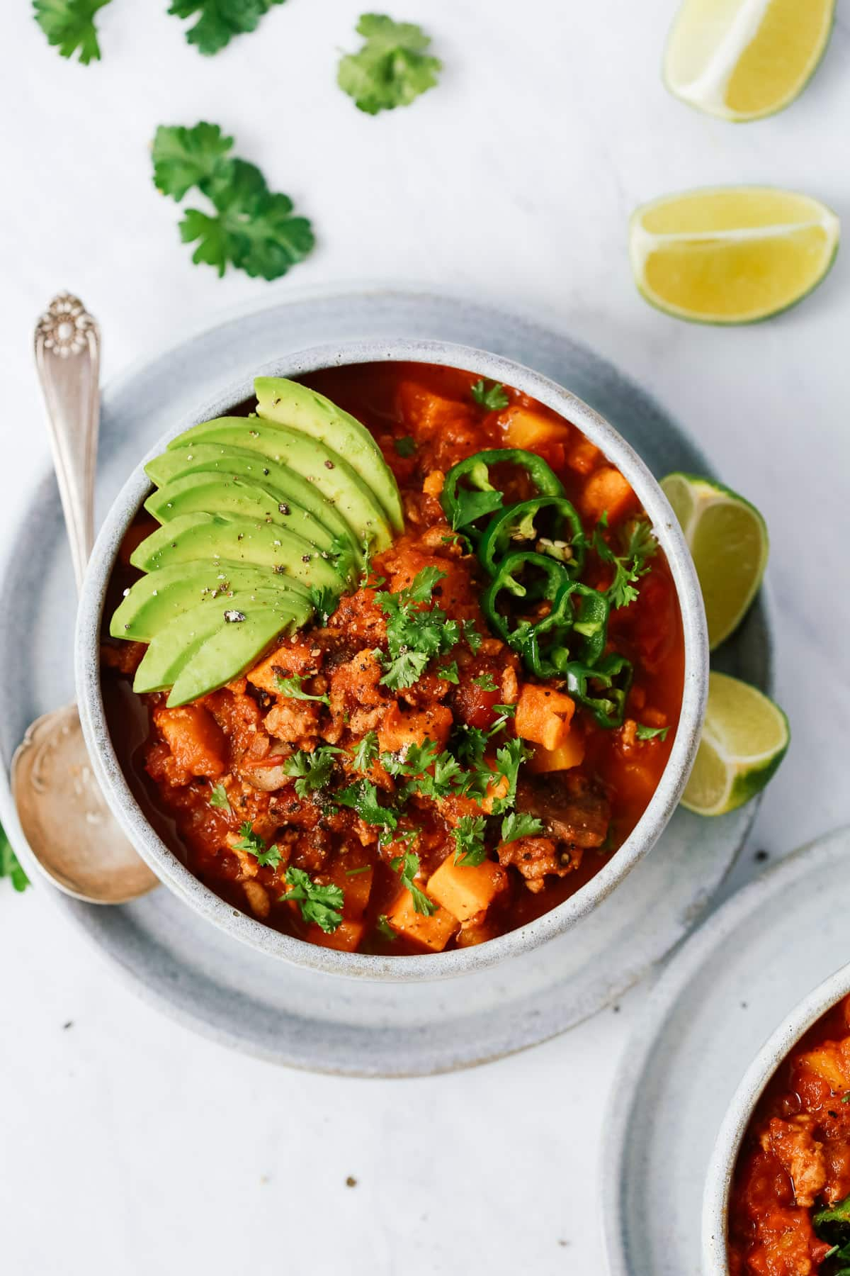 bowl of Whole30 compliant sweet potato chili