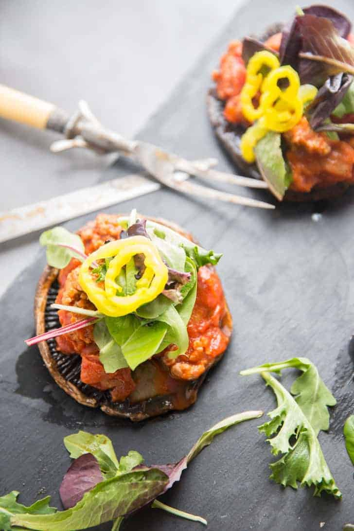 pizza stuffed portobello mushrooms