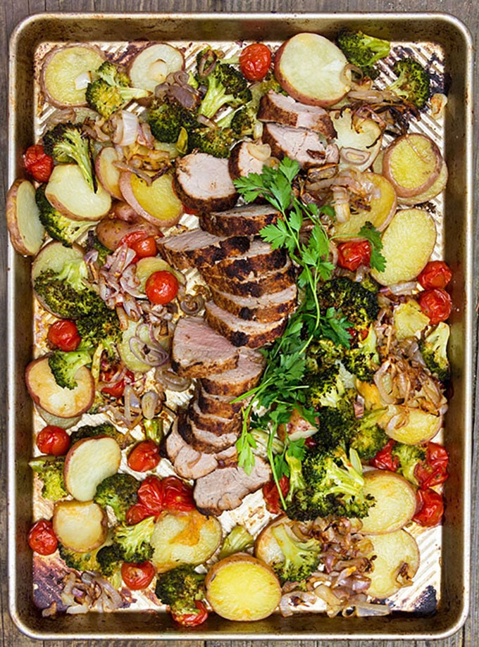 Whole30-compliant sheet pan pork dinner